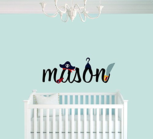e-Graphic Design Inc Custom Name Pirate Instruments - Baby Boy - Nursery Wall Decal for Baby Room Decorations - Mural Wall Decal Sticker for Home Children's Bedroom (1314) (Wide 22