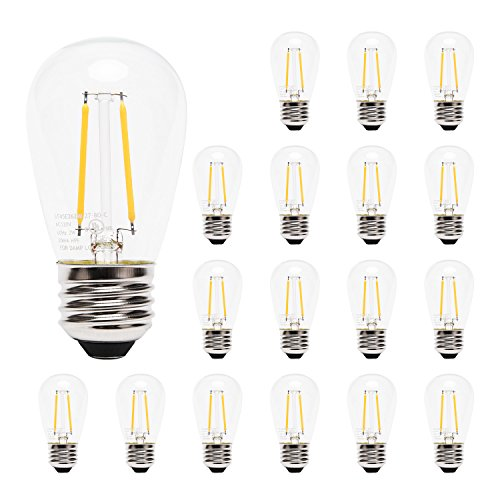 JACKYLED Outdoor LED Bulb Weatherproof 2W S14 LED Replacement String Light Bulbs Edison Style (18 Led Bulb)