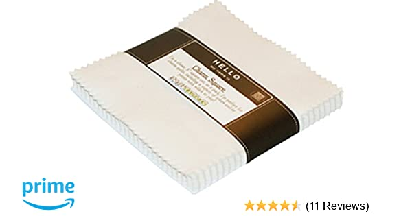5in Squares Kona Solids White Colorway 42Pcs