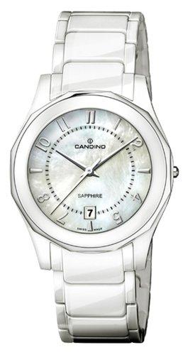 Candino C4352-2 - Reloj analógico de caballero de cuarzo con correa de cerámica blanca - sumergible a 50 metros: Amazon.es: Relojes