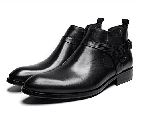 WZG invierno las nuevas botas altas de los hombres en Europa y América señaló Martin botas en tubo par de botas señalaron los zapatos planos Black