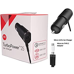 Offical OEM Motorola TurboPower 25w Dual Port Car Charger W/C Adapter, SIM Ejector, For Moto Z,Droid,Maxx,X4,X2,S9,Note8,S8,Google Pixel,2 (Retail Pack)