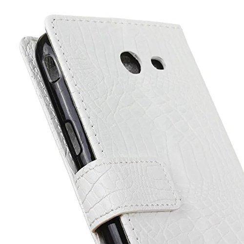 JIALUN-Personality teléfono shell Para Samsung Galaxy J5 2017, con ranuras para tarjetas y caja tragamonedas y soporte TPU Funda interior funda para monedero con tapa giratoria Seguridad y Moda ( Colo White