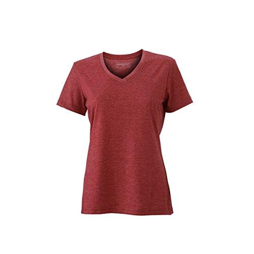 JAMES & NICHOLSON - Camiseta - Básico - Manga corta - para mujer rojo vino