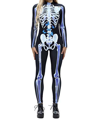 GuPoBoU168 Womens Halloween Punk Rock Skull Skeleton Bones Print Jumpsuit Style D L ()