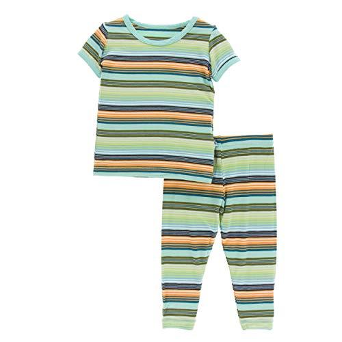 (Kickee Pants Cancun Print S/S Pajama Set - Cancun Glass Stripe, 8 Years)
