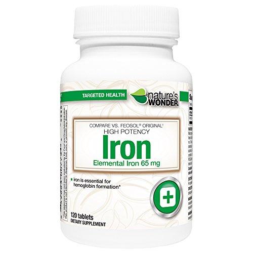 Nature's Wonder Iron (Ferrous Sulfate) 65mg Supplement, 1...