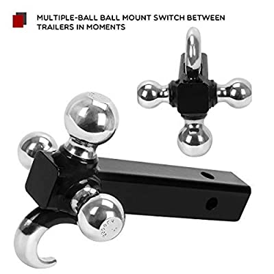 YITAMOTOR Class 3/4 Trailer Hitch Tri Ball Mount with Hook Multiple Hitch Ball Mount Fits 2