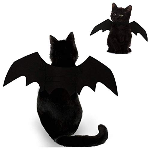 Foogles Cat Halloween Costume - Black Cat Bat Wings Cosplay - Pet Costumes Apparel for Cat Small Dogs Puppy for Cat Dress Up Accessories -