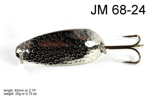Akuna [JM 68] 2.45-Inch Hammered Spoon Fishing Lure for Bass/Salmon/Trout/Muskie, Chrome Nickel, Three of One Color