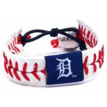(Detroit Tigers Leather Baseball Seam Bracelet)
