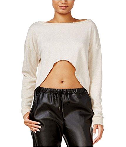 Chelsea Sky Womens Hi-Low Knit Crop Top Beige L ()