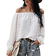 Ecrocoo Womens Summer Sexy Off Shoulder Ruffled Blouses Tops Casual Solid Color Flattering Tunic ...