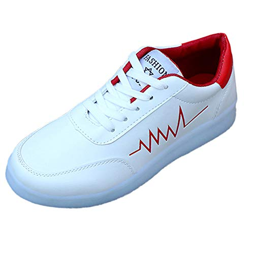 ANOKA Fashion Sneakers Women Sale USB Charger Glowing Luminous Tennis Baskets Lighten Breathable Sneakers Red Size 8.5