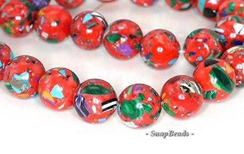 - 10MM Matrix Turquoise Gemstone RED Mosaic Round 10MM Loose Beads 15.5