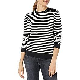 Lucky Brand Women's Stripe Scoop Neck Pullover Sweatshirt