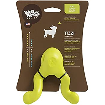 West Paw Zogoflex Tizzi Interactive Treat Dispensing Dog Fetch Play Toy, 100% Guaranteed Tough, It Floats!, Made in USA, 4.5-Inch Small, Granny Smith