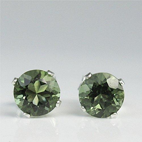 Moldavite Faceted 5mm Sterling Silver Stud Earrings