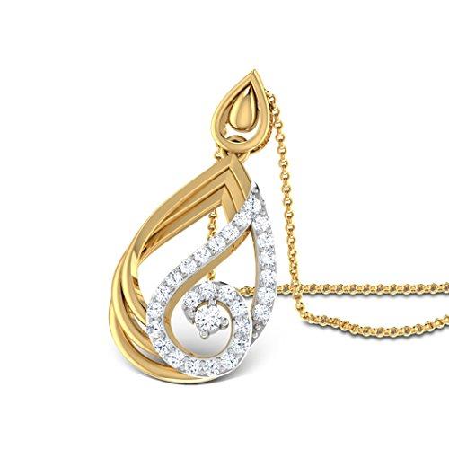 Or blanc 14K 0,31CT TW Round-cut-diamond (IJ   SI) Pendentif