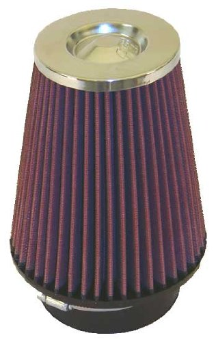 K&N RC-4680 Universal Clamp-On Air Filter: Round Tapered; 4 in (102 mm) Flange ID; 7 in (178 mm) Height; 6 in (152 mm) Base; 4 in (102 mm) Top