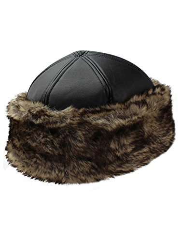 Hat Quilted Fur (Luxury Divas Black Faux Leather & Fur Trim Russian Hat with Quilted Lining)