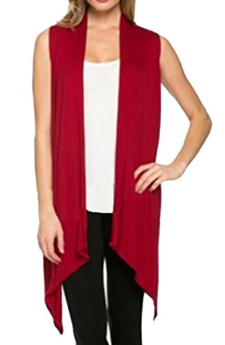 Oberora Womens Sleeveless Solid Basic Cardigan Blouse Top Wine Red (Linen Blend Sweater)