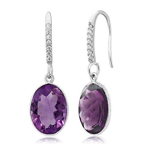 Sterling Silver 10.00 Ct Purple Amethyst 10x14mm Gemstone Birthstone Oval Dangle (Oval Dangle Wire Earrings)