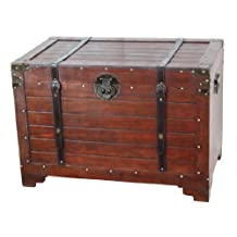 Old Fashioned Wood Storage Trunk Wooden Treasure Hope Chest - Large Trunk