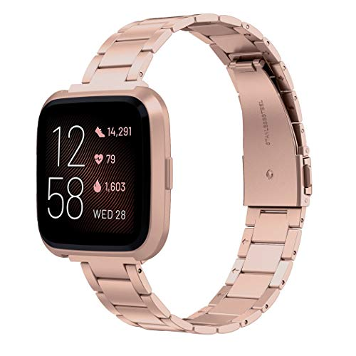 Wearlizer Stainless Steel Compatible for Fitbit Versa/Versa 2 /Versa Lite/Versa SE Bands Women Men,Ultra-Thin Lightweight Replacement Compatible for Fitbit Versa