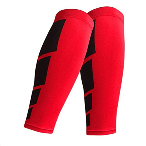 ZengBuks Deportes Pierna de Pantorrilla Soporte de la Pierna Soporte de Manga el/ástica Compresor Unisex Protector de Pierna Envuelta para Deportes al Aire Libre Rojo M