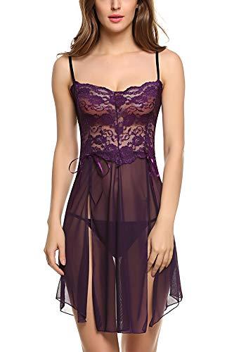 Avidlove Women Lingerie for Women Plus Size Sleepwear Sexy Babydoll Nighite Purple XX-Large