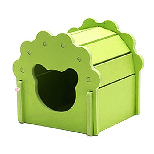 Petzilla Hamster Hideout Hut, Cute Wooden Bedding House for Small Animals (Green) (Out Green)