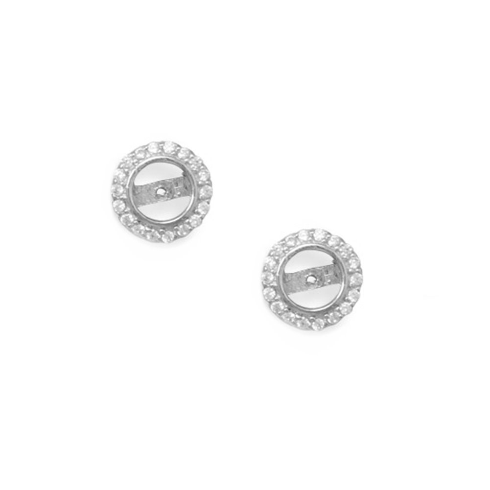 Cubic Zirconia Post Stud Halo Earring Jacket Rhodium on Sterling Silver - Nontarnish