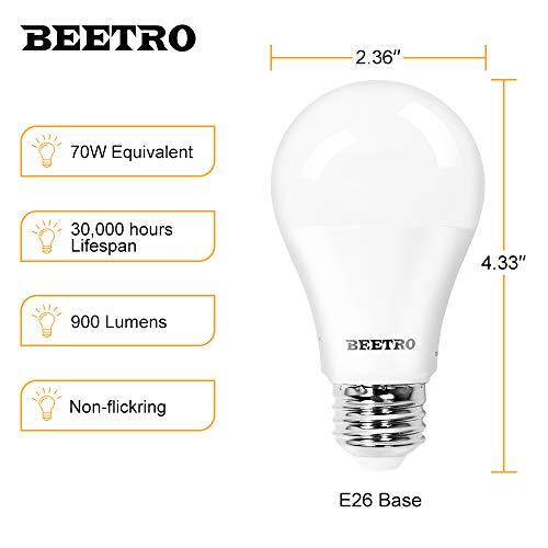 BEETRO Lighting A19 LED Bulbs, E26 Base, 70w Equivalent, 900 Lumens, Daylight 5000k Pack of 6pcs