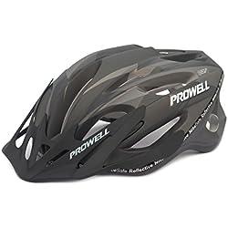Prowell F59 casco da bicicletta (Matt nero, Large, include luce SharkFIN gratuita, del valore di €7.50)