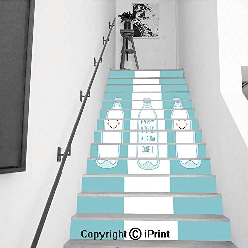 - Stair Stickers Wall Stickers,13 PCS Self-Adhesive,Stair Riser Decal for Living Room, Hall, Kids Room,Cute Hand Drawn Cartoon Characters of Milk