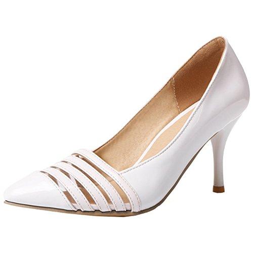 Azbro Mujer Zapatos de Estilete con Bomba Puntera Punta de Moda Blanco