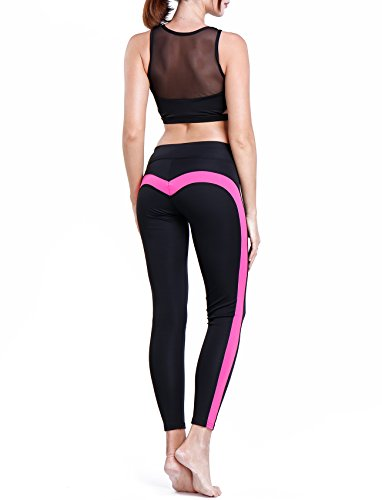 (CFR Women's Heart-Shaped Yoga Pants 2017 Hot! Workout Ankle-Length Fitness Leggings Black&Pink,XL)