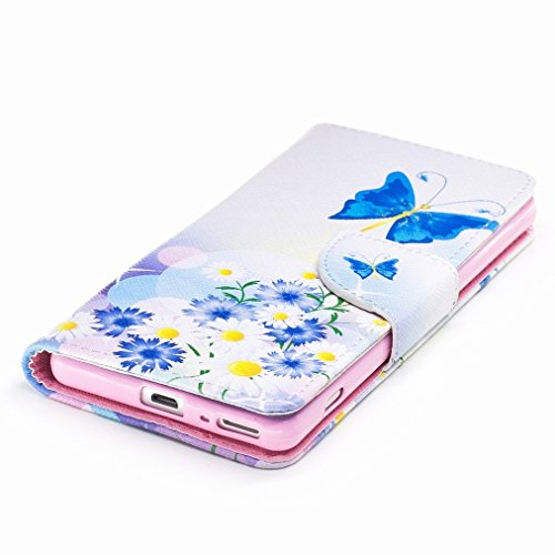 Custodia Sony Xperia XA Cover Case, Ougger Blue Butterfly Portafoglio PU Pelle Magnetico Stand Morbido Silicone Flip Bumper Protettivo Gomma Shell Borsa Custodie con Slot per Schede