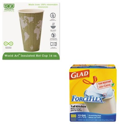 KITCOX70427ECOEPBNHC16WD - Value Kit - ECO-PRODUCTS,INC. World Art Insulated Compostable Hot Cups (ECOEPBNHC16WD) and Glad ForceFlex Tall-Kitchen Drawstring Bags (COX70427)
