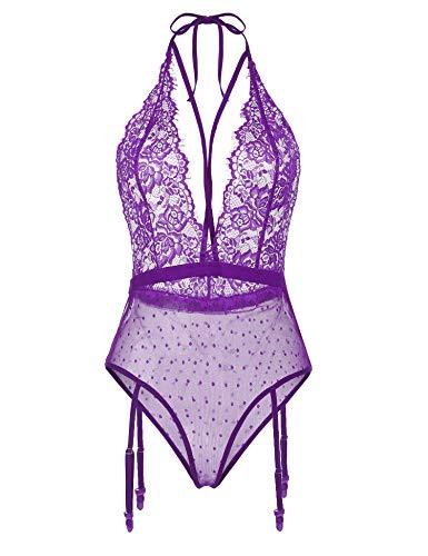 wearella Women Teddy Lace Lingerie Halter Bodysuit One-Piece Babydoll with Garter Belts Sleepwear Purple XL ()