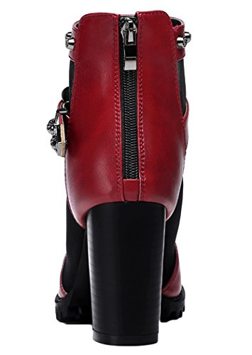 Passionow Womens Dressy Queen Buckle Iron Studded Zipper Chunky Heels Evening Pumps(5.5 B(M)US, Red)