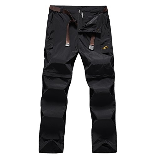 - TOURME Lightweight Hiking Pants Mens Convertible Zip Off Trekking Fishing Pants Black