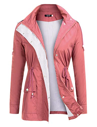 (FISOUL Raincoats Waterproof Lightweight Rain Jacket Active Outdoor Hooded Women's Trench Coats Orange)