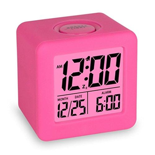Swonda Easy Setting Digital Travel Alarm Clock with Snooze,Soft Nightlight,Large Display Time & Month & Date & Alarm