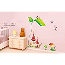 ufengke® Cartoon Mini Princess Castles and Little Girl On Green Leaf Wall Decals, Children's Room Nursery Removable Wall Stickers Murals