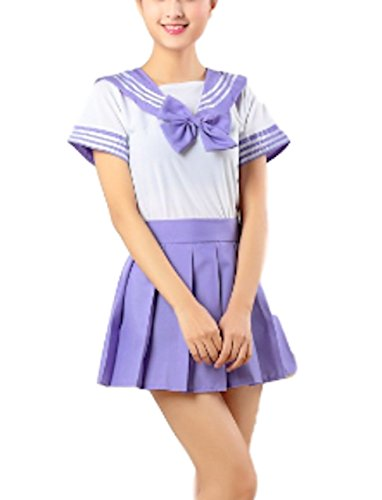 Moon Market Women Japanese School Sailor Uniform Suit Sexy Dress Cosplay Costume Anime Girl Lady Lolita High School College Students Game (L, Purple) Love Live Sunshine Hell Girl Wig Halloween