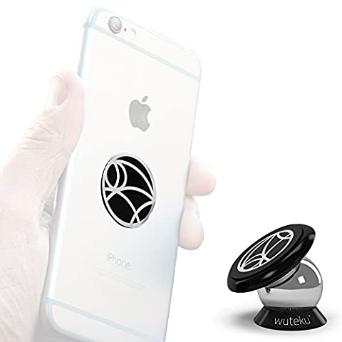 Wuteku UltraSlim Magnetic Cell Phone Holder | Dashboard Mount | Universal Design | iPhone 7 / 6 / 5 Galaxy S7 / S6 | Top Rated by Uber & Lyft Drivers