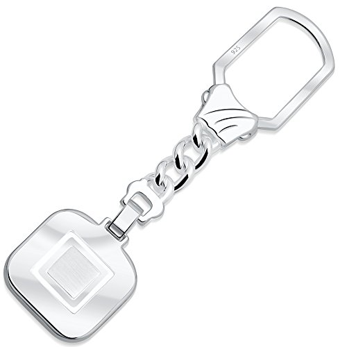 Sterling Silver .925 Key Chain for Men or Women, Made in Italy, Hand Polished, Elegant Secure Solid Design, Engravable