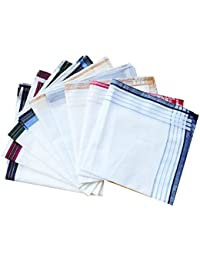 3 Styles of Mens Classic Striped Border Cotton Handkerchiefs Pack-40cm Square